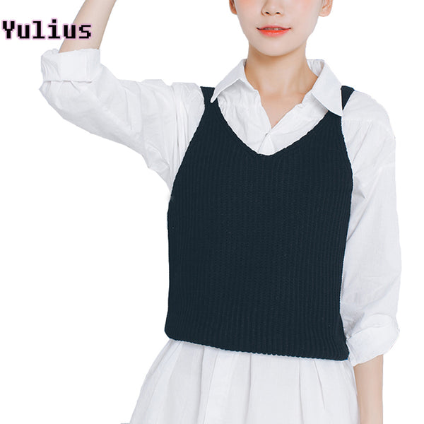 2017 YULIUS Woman's Pullover Knitted Sweater Vest with Spaghetti Straps