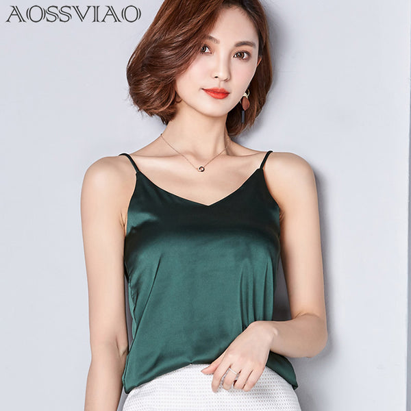 AOSSVIAO Woman's Silk Tank Top with Spaghetti Straps