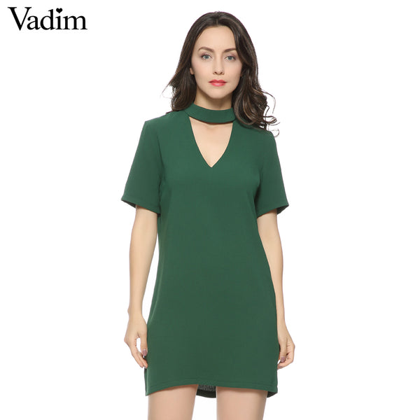 V-Neck Short Sleeve Mini Dress