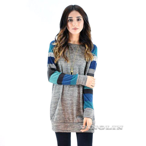 Winter Fall Knitted Striped Colors Sweater