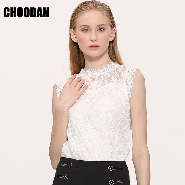 Summer 2017 CHOODAN Woman's Sleeveless Lace Blouse