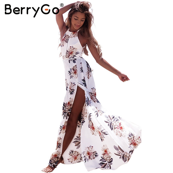 2017 BERRYGO Woman's Floral Print Halter Chiffon Long Dress