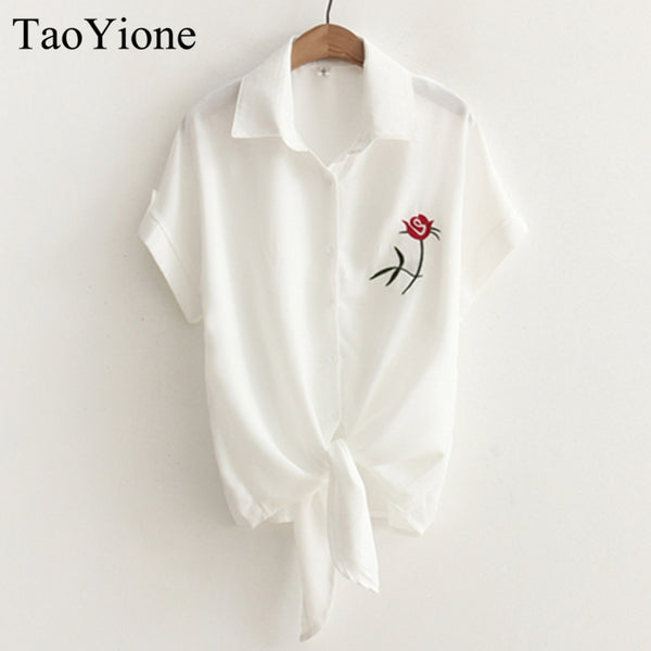 2017 TAOYIONE Embroidered Blouse with Short Sleeves and Tie Waist