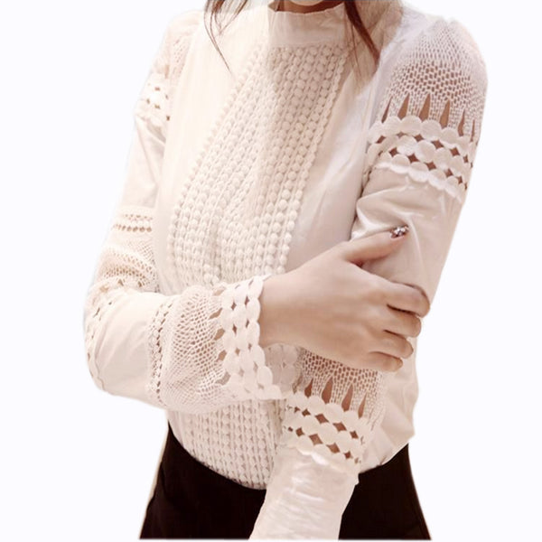SMILE FISH Woman's Long Sleeve Hollow Lace Blouse