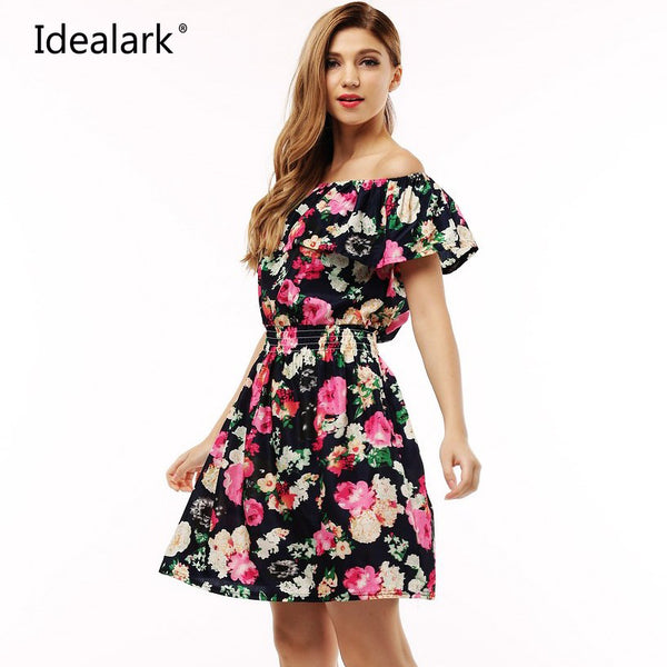2017 Idealark Woman's Floral Print Off-Shoulder Dress