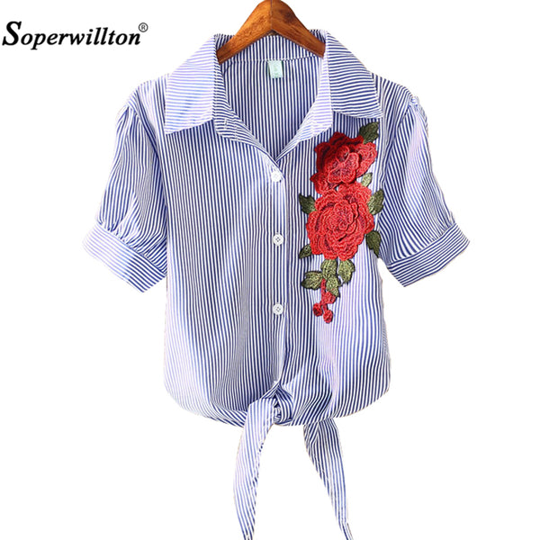 2017 SOPERWILLTON Woman's Pinstripe Button Up with Embroidered Flowers