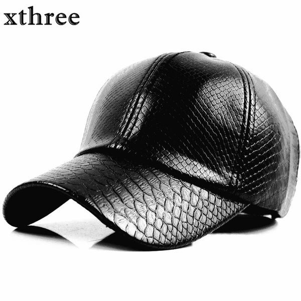 XTHREE Faux Leather Baseball Cap
