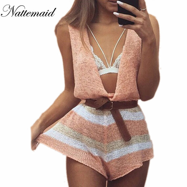 2017 NATTEMAID Woman's Knitted Deep V-Neck Romper