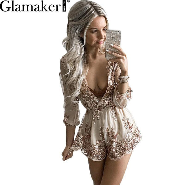 GLAMAKER Woman's Deep V-Neck Sequin Romper