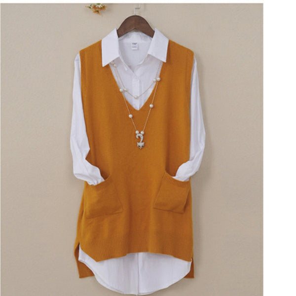 Women's Spring Autumn Cashmere Knitted Vest Both Sides Split Loose Sweater Vest Waistcoat Female Pullover Sleeveless Tops