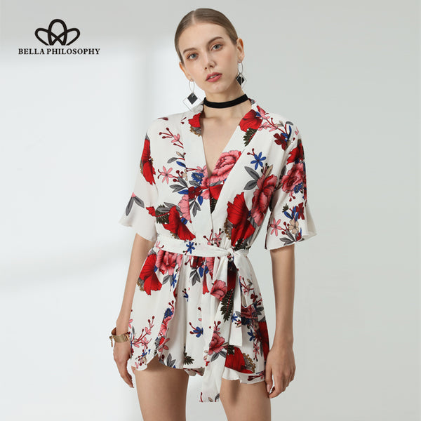 BELLA PHILOSOPHY Woman's Floral Print One-Piece Romper