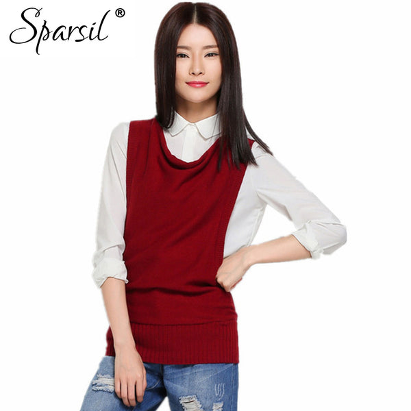 Sparsil Women's Winter&Autumn Ruffled Collar Cashmere Blend Knitted Vest Fashion Casual Sleeveless Waistcoats 5033C71