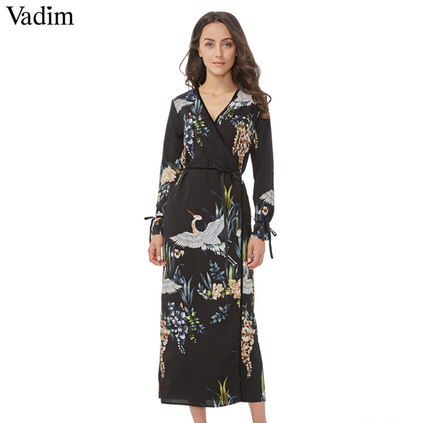 Autumn VADIM Woman's Long Sleeve Floral V-Neck Maxi Dress