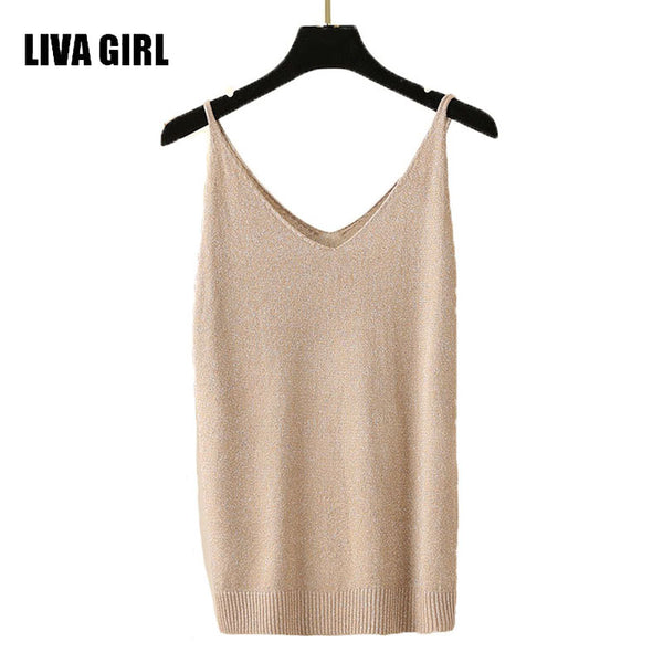 LIVA GIRL Woman's Knitted Spaghetti Strap Tank Top