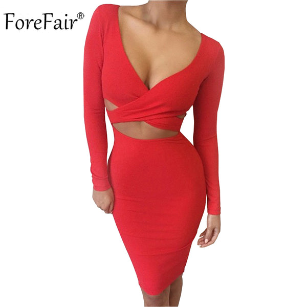 2015 FOREFAIR Woman's Sexy Midi Bodycon Dress with Long Sleeves