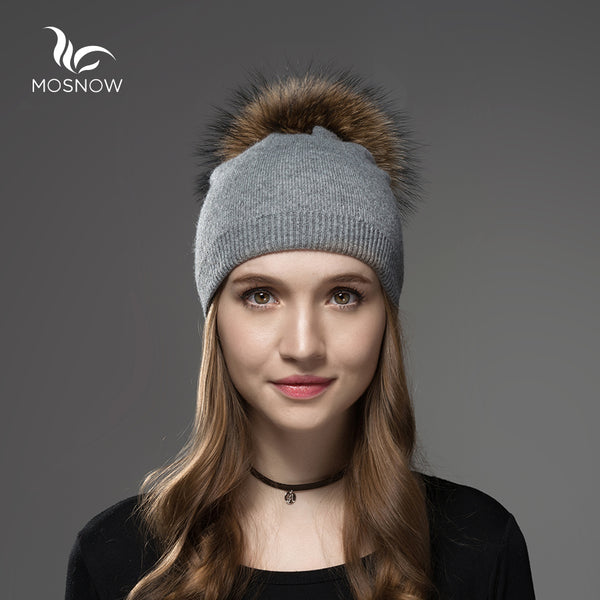 MOSNOW Wool Knitted Beanie with Faux Fur Pompom