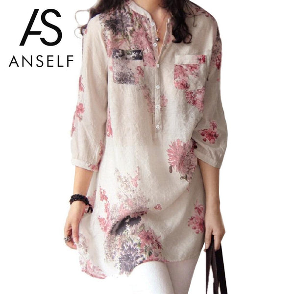 ANSELF Woman's Vintage Floral Print Long Blouse with 3/4 Sleeves