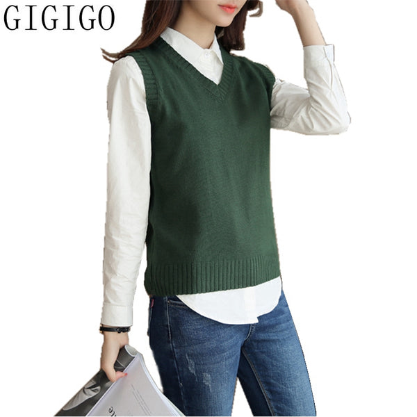 GIGIGO Woman's Sleeveless Knitted Sweater Vest