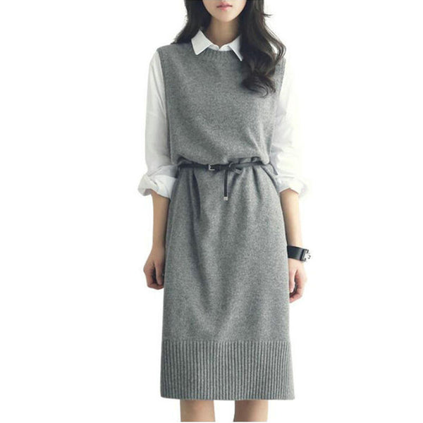 2017 SHARE BERRY Woman's Mid-Calf Sweater Dress with Belt