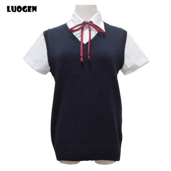 LUOGEN Woman's V-Neck Uniform Sleeveless Sweater Vest