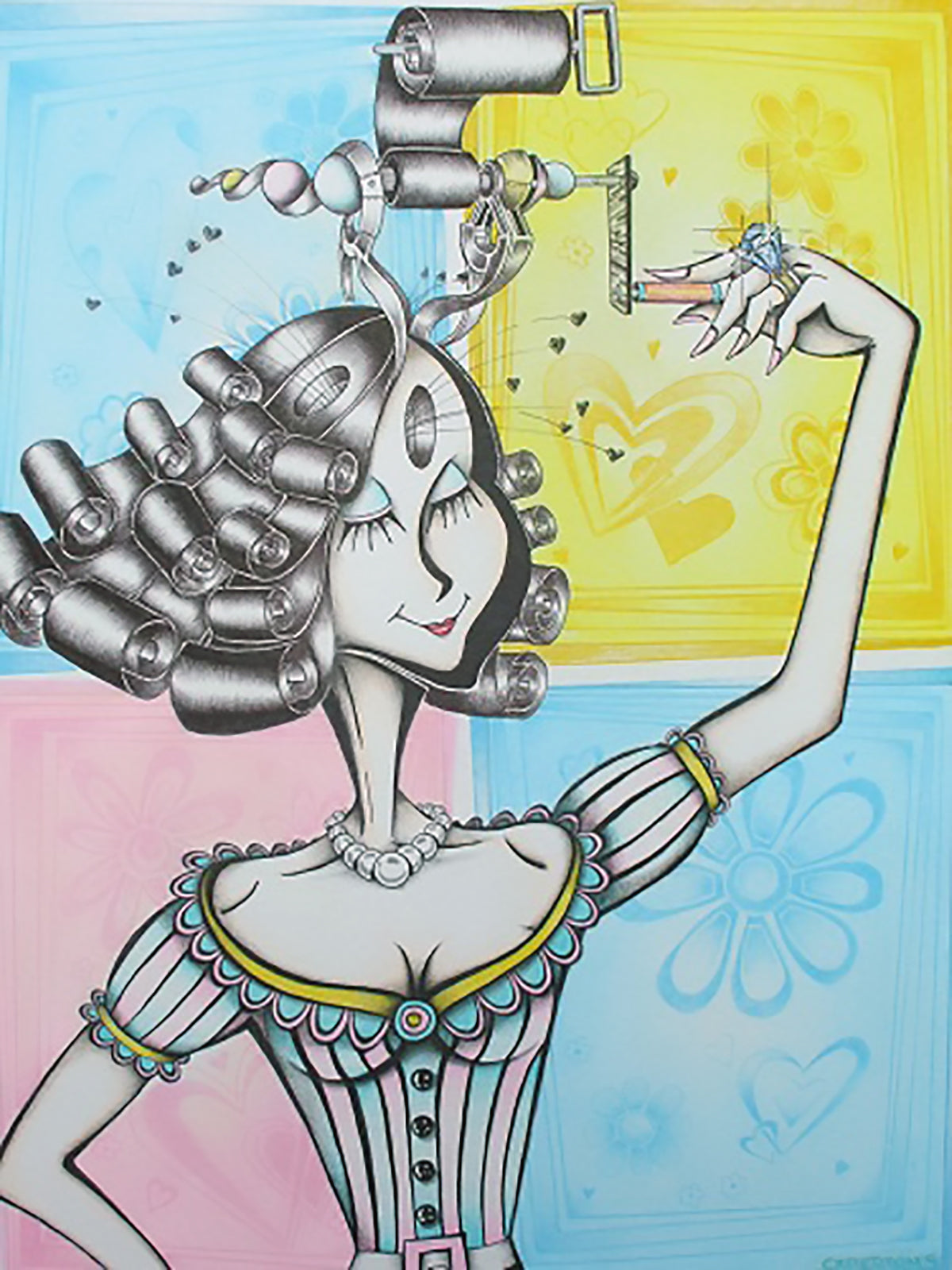 """Girl With The Curl 8.5"""" x 11"""" Giclee On High Gloss Metal"""