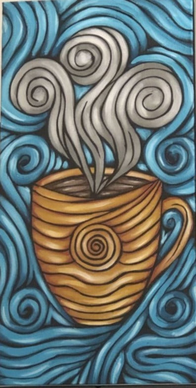 """Original Art"" Morning Coffee/12"" x 24"" Acrylic On Canvas"