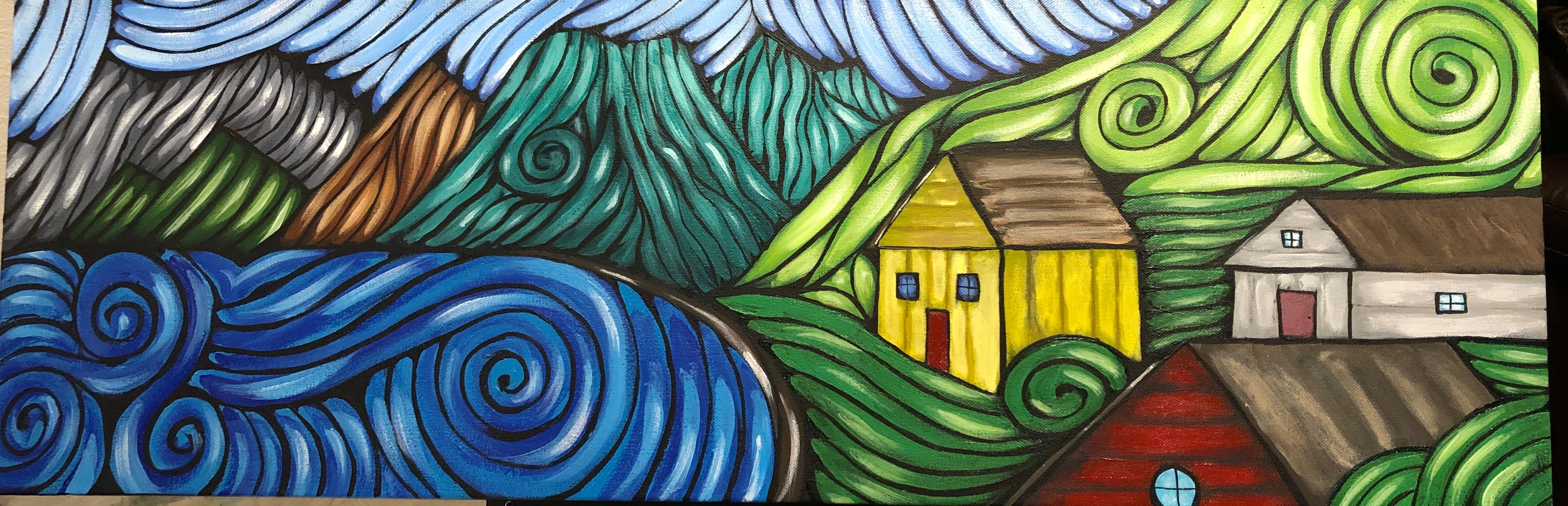 """Original Art"" Village/36"" x 12"" Acrylic on Canvas"