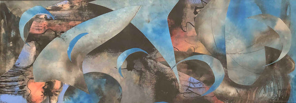 """Shapes In Space/ 48"""" x 16"""" Giclee Printed On High Gloss Metal"""