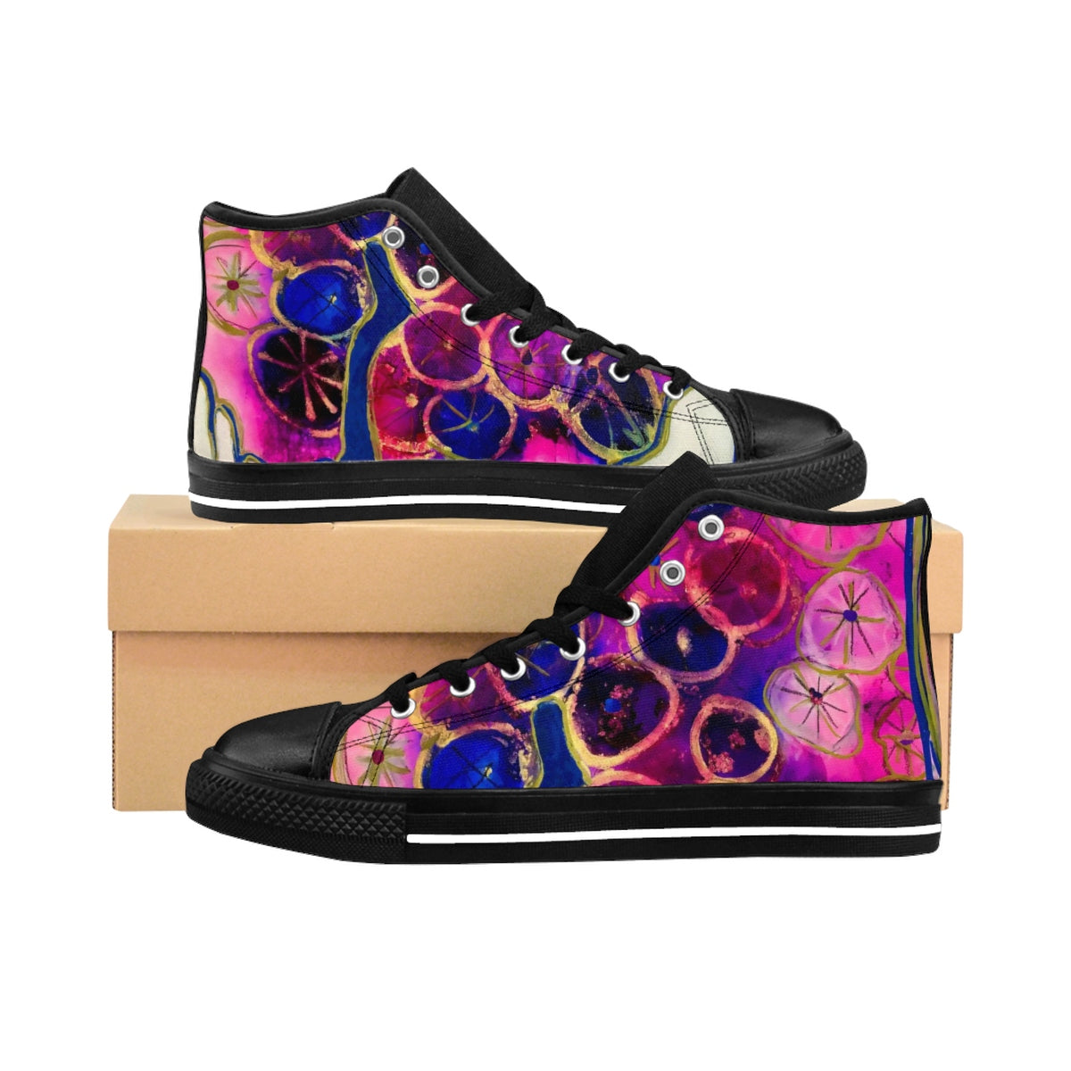 Dripping Dahlias Women's High-Top Sneakers