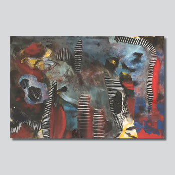 """Abstraction With Stripes/ 24"""" x 16""""/36"""" x 24"""" Giclee Printed On High Gloss Metal"""