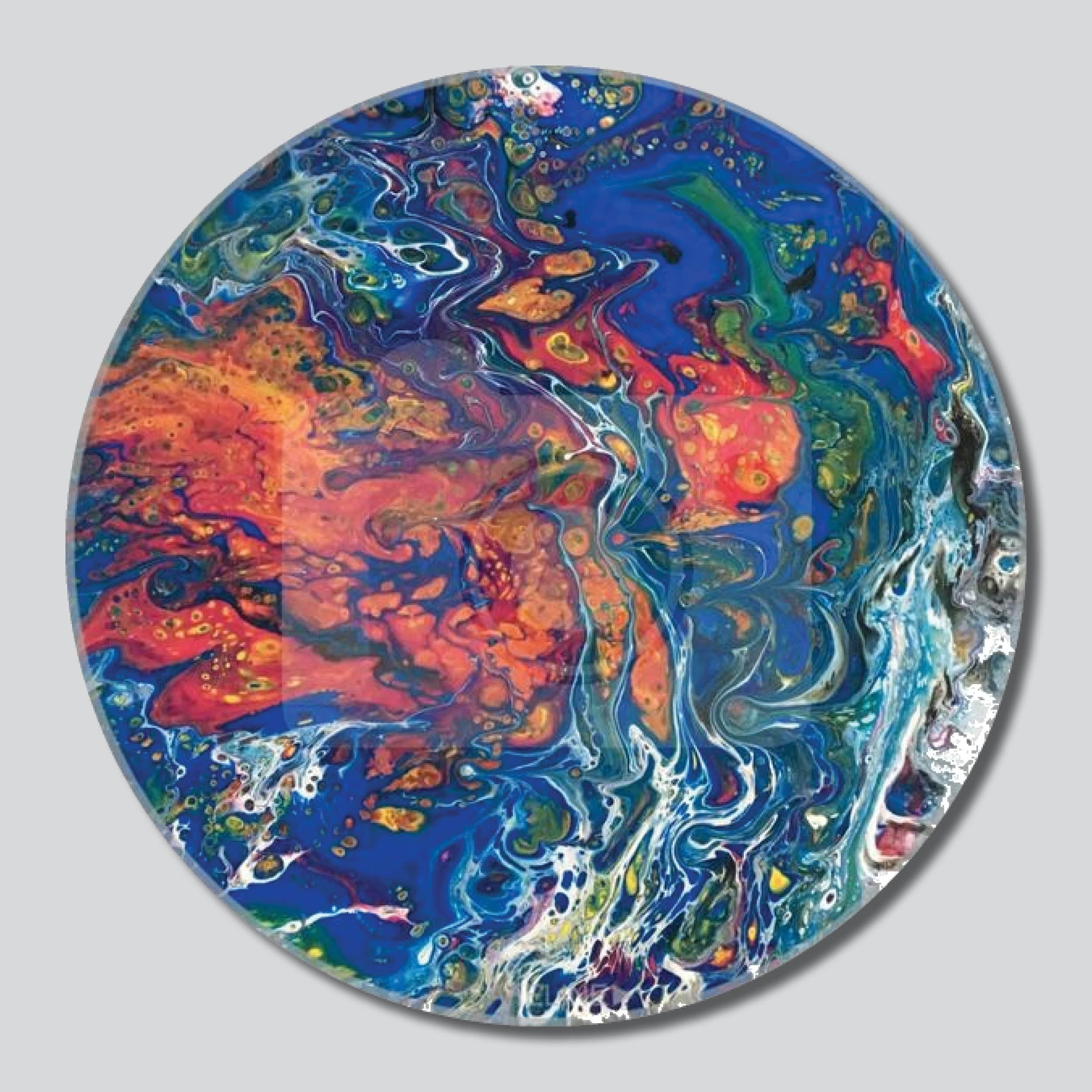 "Acid Trip 11""/16""/20"" Round Giclee Printed On High Gloss Metal"