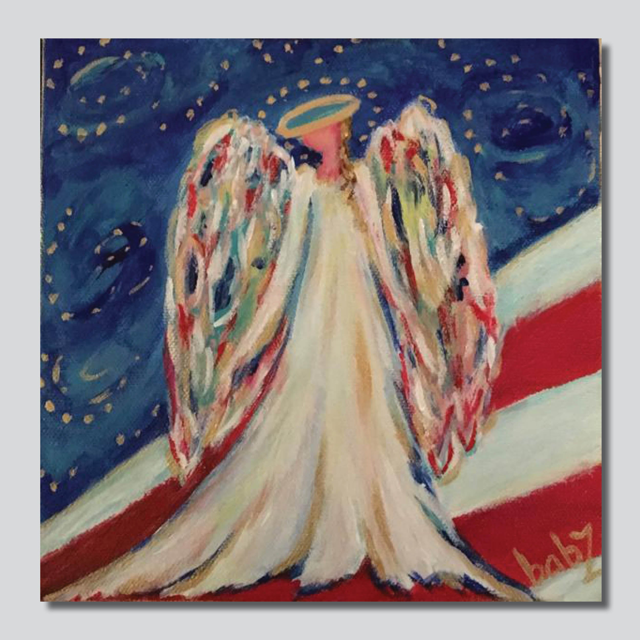"Angel Over America 10"" x 10""/20"" x 20"" Giclee Printed On High Gloss Metal"