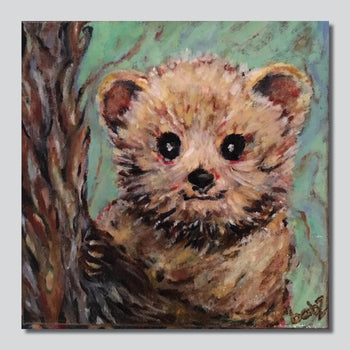 "Bearley Hangin/ 10"" x 10"" Giclee Printed On High Gloss Metal"