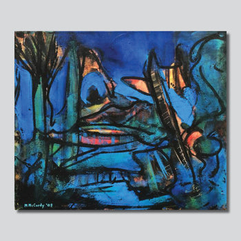 """Blue Abstraction/ 16' X 20""""/ 24"""" X 30"""" Giclee Printed On High Gloss Metal"""