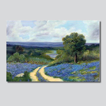 "Bluebonnets Along Runnels Country Road 35.5"" x 23.5"" Limited Edition Giclee' Printed On Canvas"