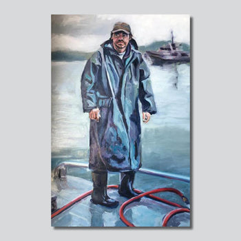 """Original Art"" Crab Fisherman 24"" x 36"" Oil Painting On Canvas"