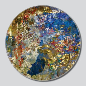 """Cracked Branches 11""""/16""""/20"""" Round Giclee Printed On High Gloss Metal"""