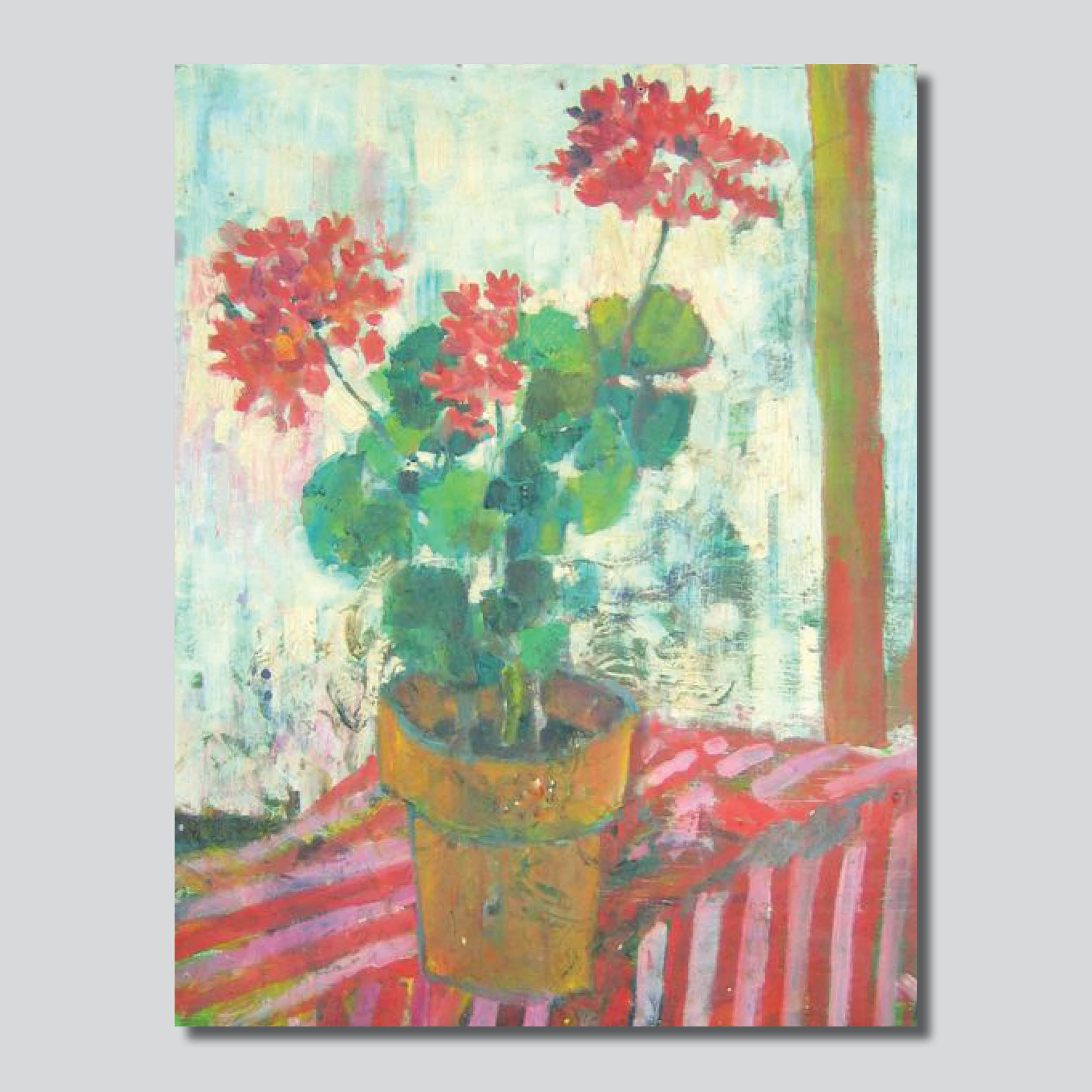 "Geranium Blooms 28"" x 38"" Giclee Printed On High Gloss Metal"