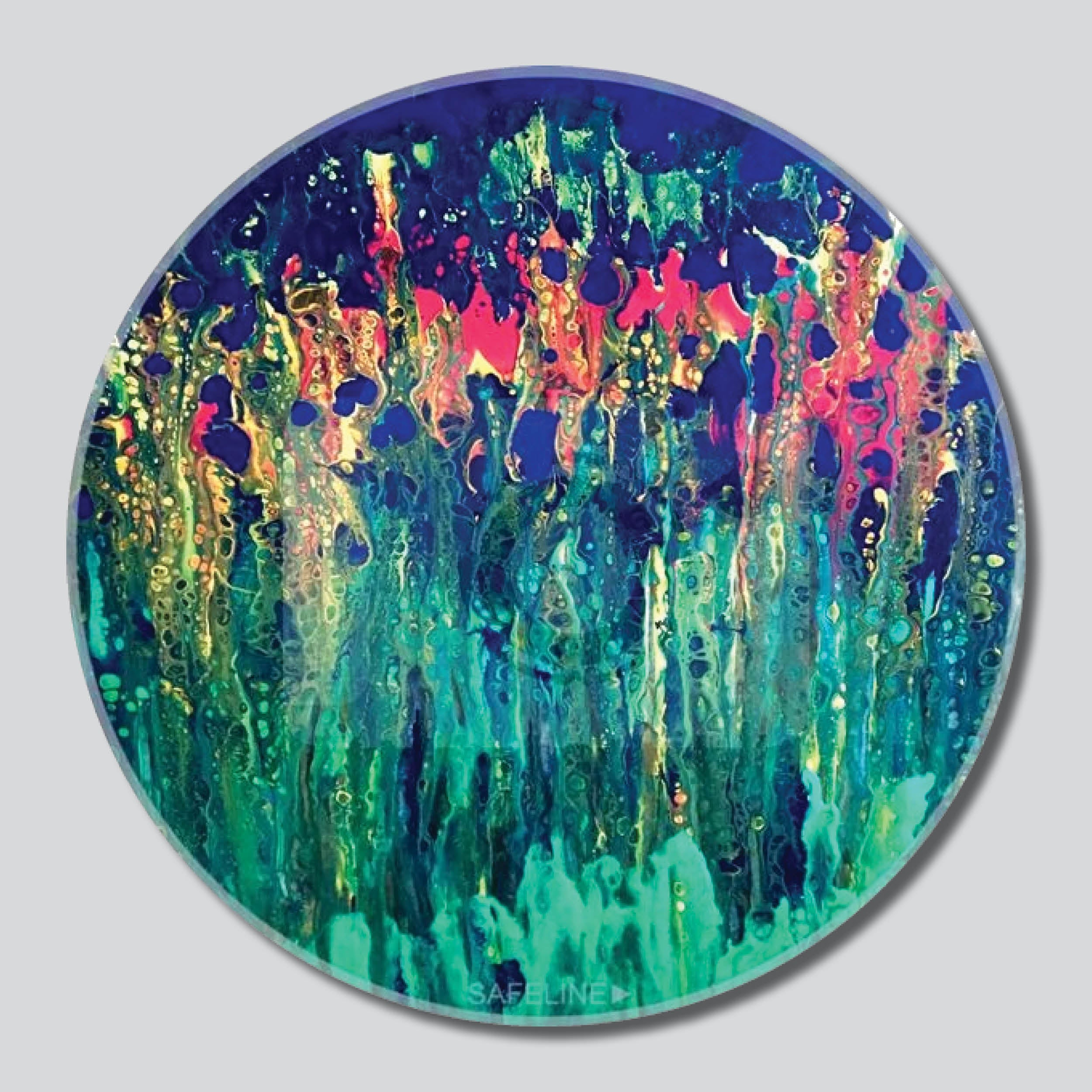"Happy Blooms 11""/16""/20"" Round Giclee Printed On High Gloss Metal"