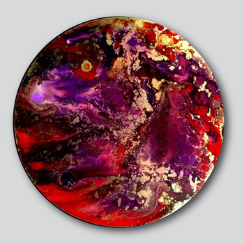 """Original Art"" Heart Wave 12"" Round Diameter Mixed Media On Aluminum"