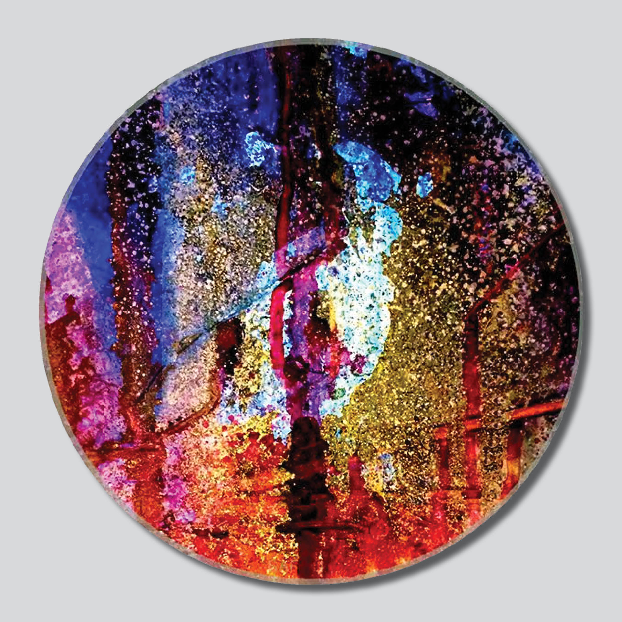 "Lone Tree Fire In The Forest 11""/16""/20"" Round Giclee Printed On High Gloss Metal"