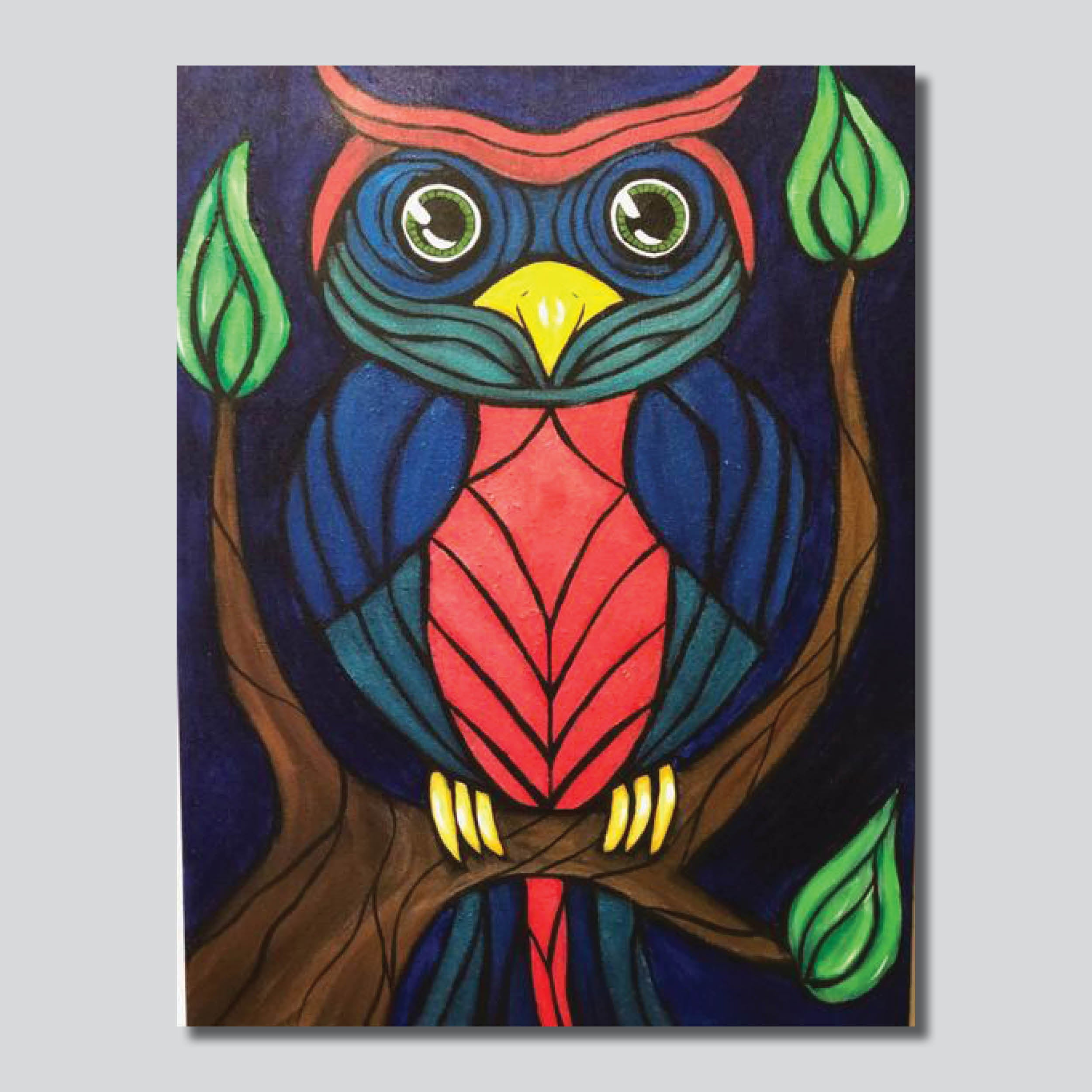 """Original Art"" Metallic Owl/18"" x 24"" Acrylic On Canvas"