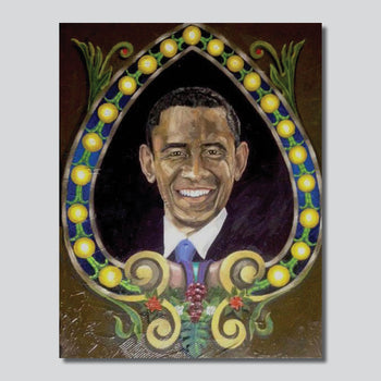 """Original Art"" Obama/My President 11"" x 14"" Oil On Canvas/Giclee Printed On High Gloss Metal"