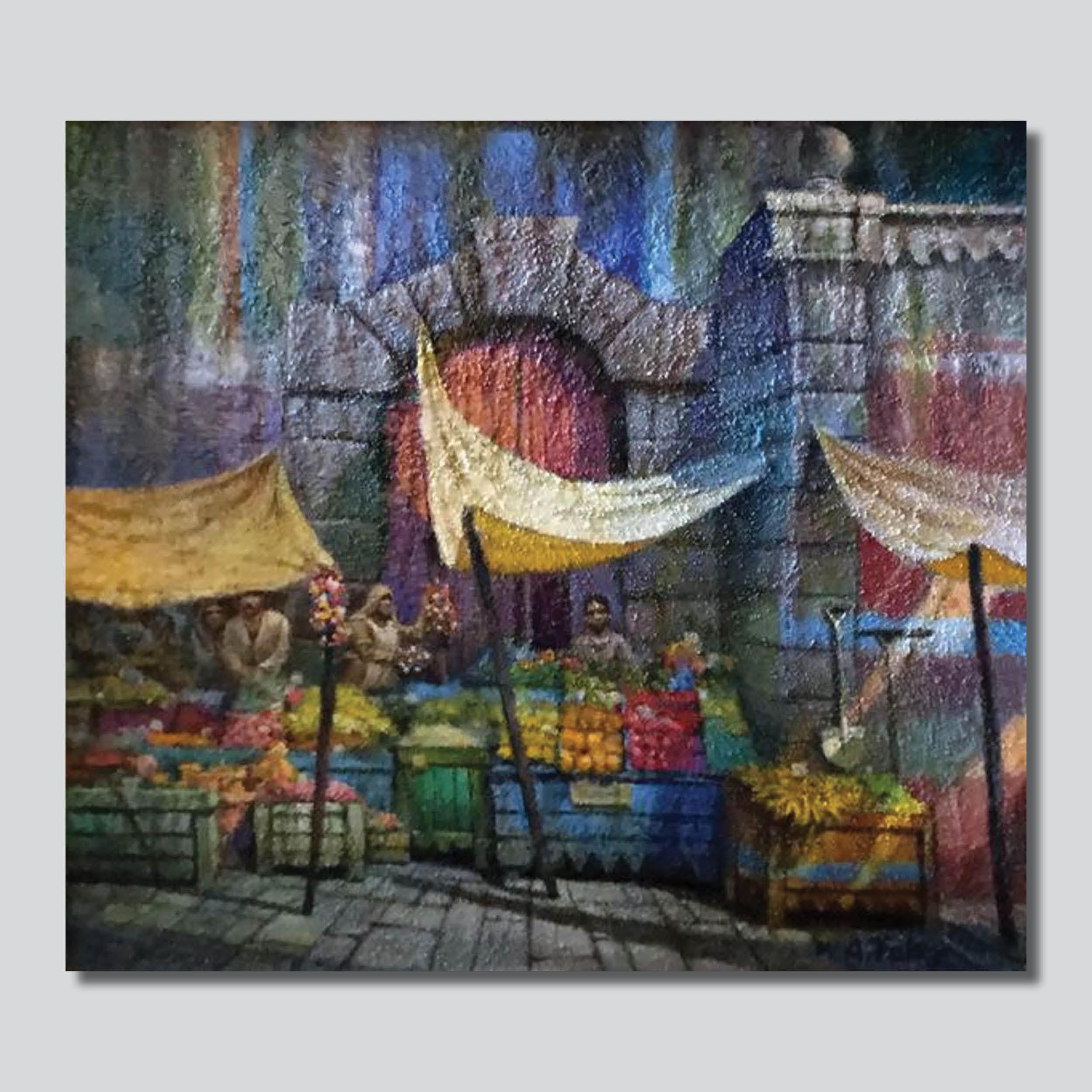 """Original Art"" Open Air Marketplace 24"" x 20"" Oil On Canvas"