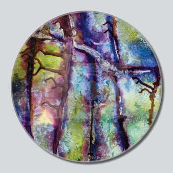 "Redbud Branches 11""/16""/20"" Round Giclee Printed On High Gloss Metal"