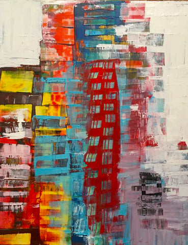 """Original Art"" The Red Building 24"" x 30"" Acrylic On Canvas"