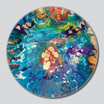 "Tidal Wave 11""/16""/20"" Round Giclee Printed On High Gloss Metal"