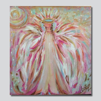 """Wings Of Pink 10"""" x 10""""/20"""" x 20""""Giclee Printed On High Gloss Metal"""