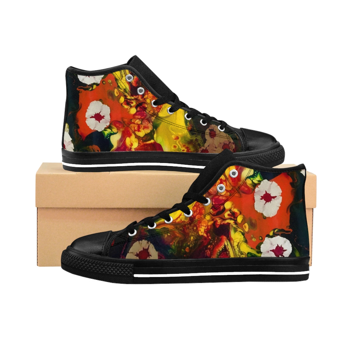 Floating Budding Blooms Women's High-top Sneakers