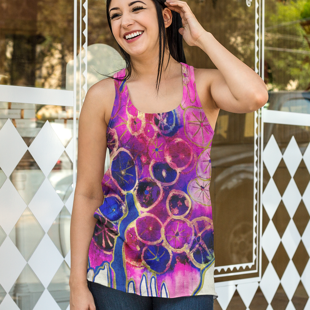 Dripping Dahlias All Over Print Women's Racerback Tank